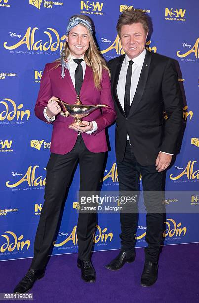 Richard Wilkins and his son Christian Wilkins arrive at the Opening Night of Disney's Aladdin at the Capitol Theatre on August 11 2016 in Sydney...