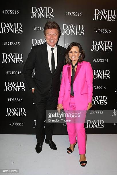 Richard Wilkins and Lisa Wilkinson arrive ahead of the David Jones Spring/Summer 2015 Fashion Launch at David Jones Elizabeth Street Store on August...
