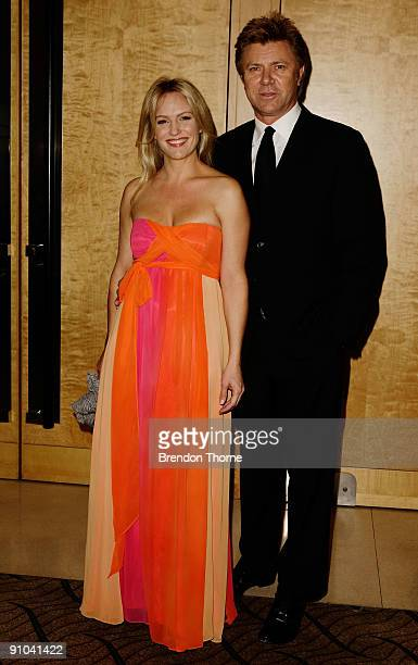 Richard Wilkins and Rebecca Naso arrive for the Brian Doyle 'Comedy is King' event at the Westin Hotel on September 23 2009 in Sydney Australia