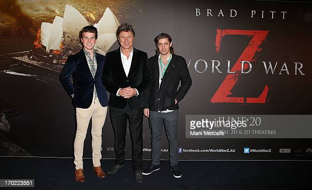 Richard Wilkins and son Christian Wilkins arrives at the 'World War Z' Australian Premiere at the Star on June 9 2013 in Sydney Australia
