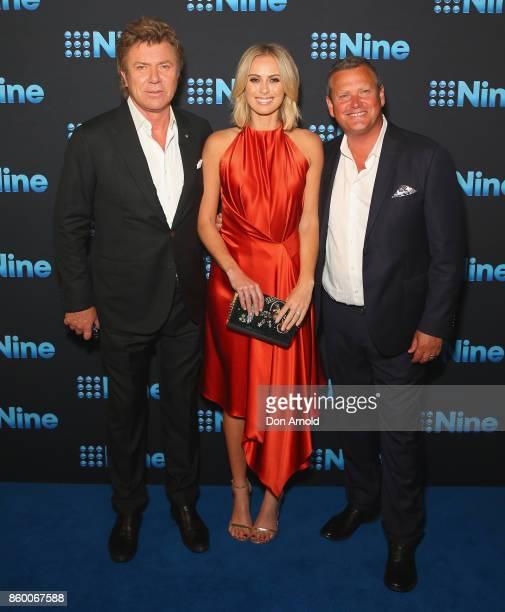 Richard WilkinsSylvia Jeffreys and Scott Cam pose during the Channel Nine Upfronts 2018 event on October 11 2017 in Sydney Australia
