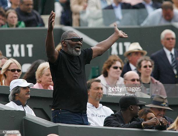 Richard Williams father and coach of Serena Williams show his emotion during her Women's Singles fourth round match between Serena Williams of USA...