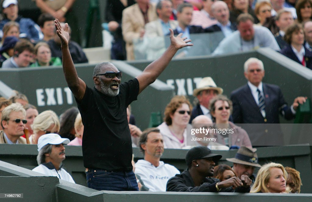 Richard Williams, father and coach of Serena Williams, show his emotion during her Women's Singles fourth round match between Serena Williams of USA and Daniela Hantuchova of Slovakia during day seven of the Wimbledon Lawn Tennis Championships at the All England Lawn Tennis and Croquet Club on July 2, 2007 in London, England.