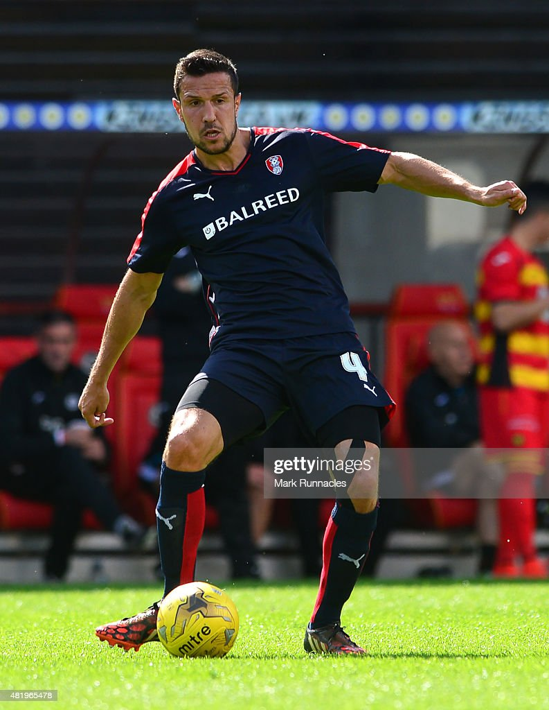 Richard Wood of Rotherham in action during a pre season friendly match between Patrick Thistle FC and Rotherham United at Firhill Stadium on July 25, 2015 in Glasgow, Scotland.