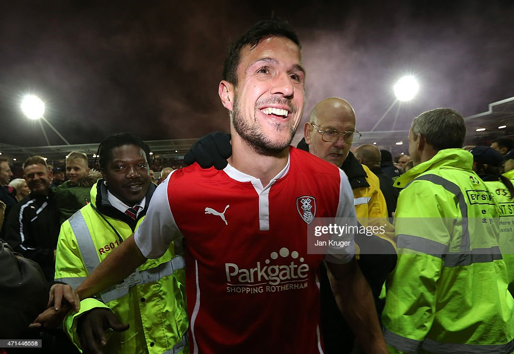 Richard Wood of Rotherham leaves the field after the final whistle during the Sky Bet Championship match between Rotherham United and Reading at The New York Stadium on April 28, 2015 in Rotherham, England.