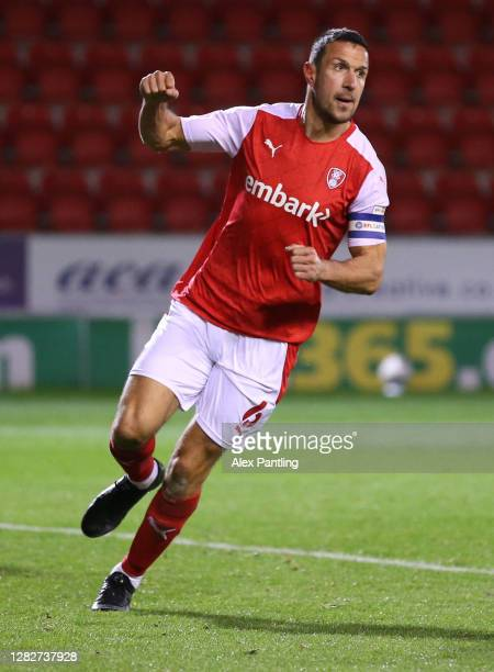 Richard Wood of Rotherham United celebrates a goal that is later ruled disallowed for offside during the Sky Bet Championship match between Rotherham...