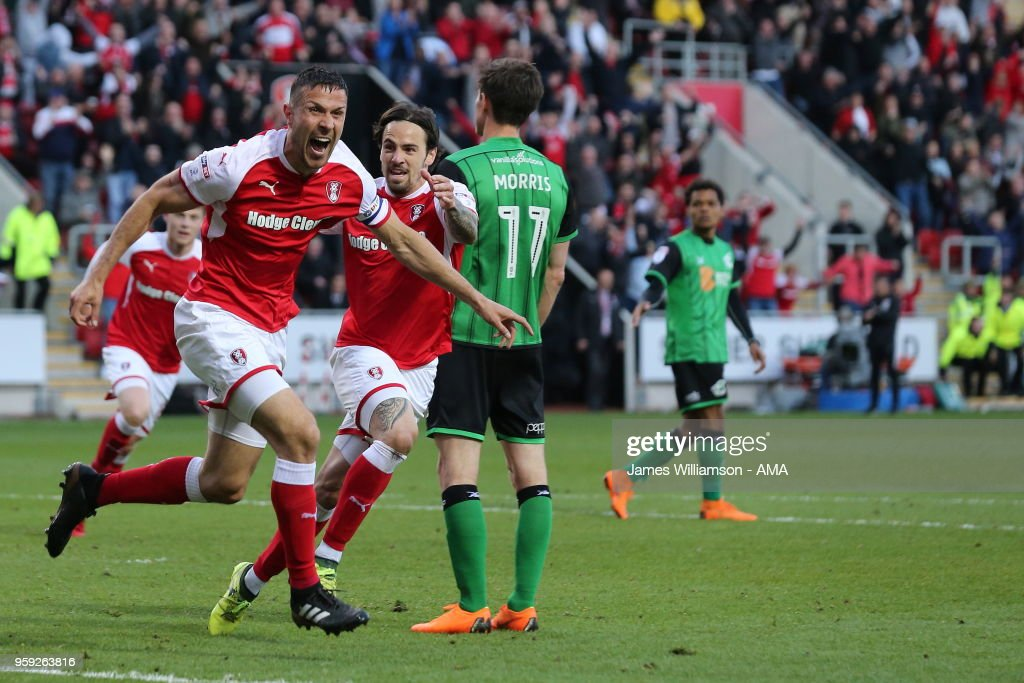 Richard Wood of Rotherham United celebrates after scoring a goal to make it 1-0 during the Sky Bet League One Play Off Semi Final:Second Leg between Rotherham United and Scunthorpe United at The New York Stadium on May 16, 2018 in Rotherham, England.
