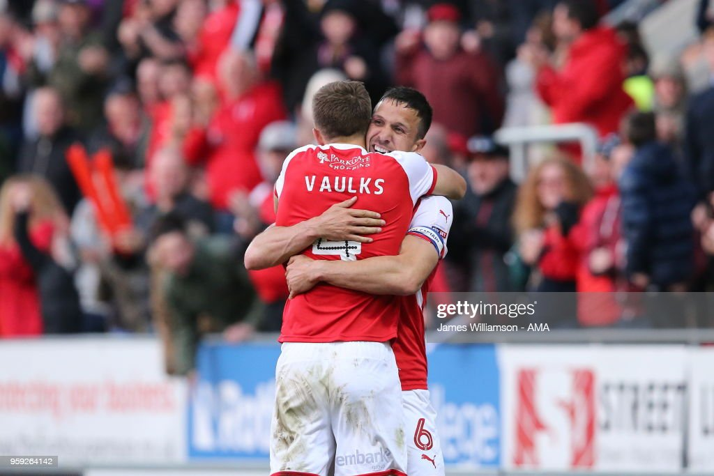 Richard Wood of Rotherham United celebrates after scoring a goal to make it 1-0 with teammate Will Vaulks of Rotherham United during the Sky Bet League One Play Off Semi Final:Second Leg between Rotherham United and Scunthorpe United at The New York Stadium on May 16, 2018 in Rotherham, England.