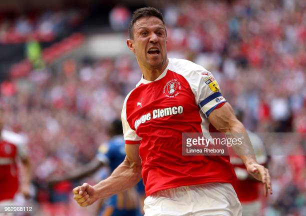Richard Wood of Rotherham United celebrates after scoring his sides first goal during the Sky Bet League One Play Off Final between Rotherham United...