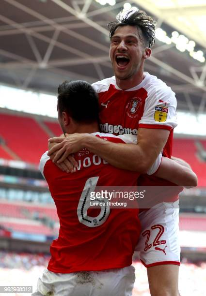 Richard Wood of Rotherham United celebrates after scoring his sides first goal with Joe Newell of Rotherham United during the Sky Bet League One Play...