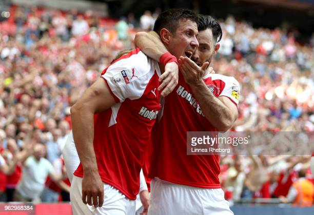 Richard Wood of Rotherham United celebrates after scoring his sides first goal with Richie Towell of Rotherham United during the Sky Bet League One...