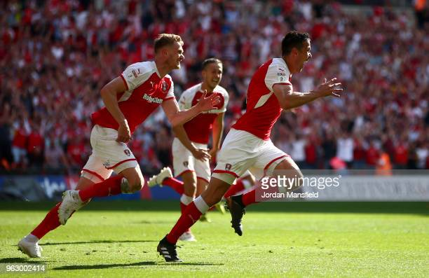 Richard Wood of Rotherham United celebrates after scoring his sides second goal during the Sky Bet League One Play Off Final between Rotherham United...