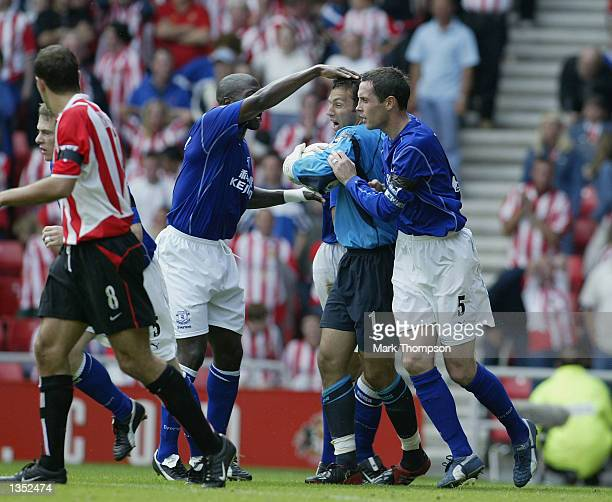 Richard Wright of Everton celebrates after saving a penalty during the match between Sunderland and Everton in the FA Barclaycard Premiership at The...