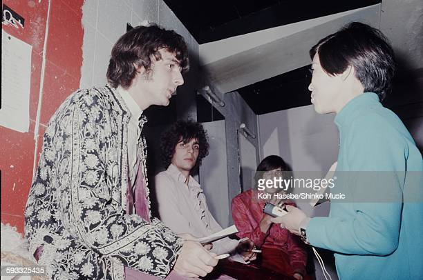 Richard Wright Syd Barrett and Roger Waters Pink Floyd in a club dressing room in London London 1969