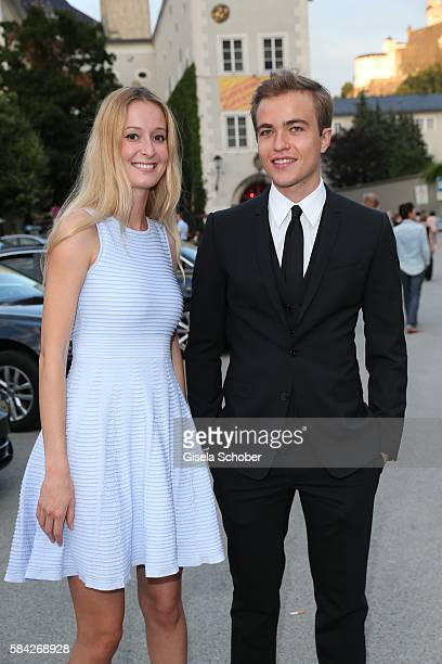Richard Wunderlich son of Anne Sophie Mutter and his girlfriend during the opera premiere 'The Exterminating Angel' at Haus fuer Mozart on July 28...