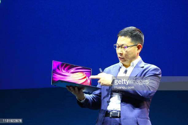 Richard Yu Chengdong CEO of the Huawei Consumer Business Group presents the new MateBook X Pro ahead of the Mobile World Congress the world's biggest...