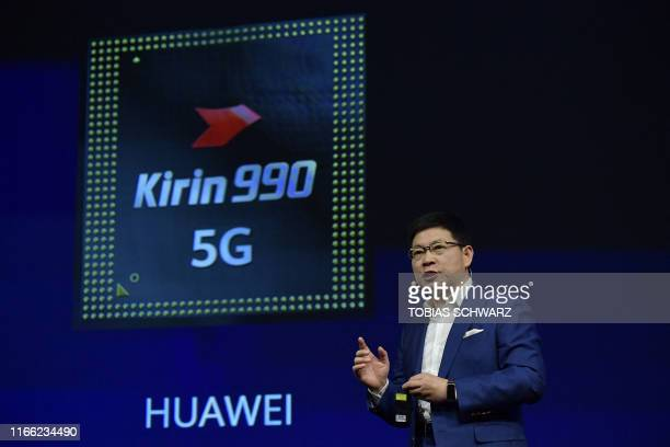 Richard Yu head of Huawei's consumer business speaks during the presentation of a Kirin 990 5G chip set at the international electronics and...