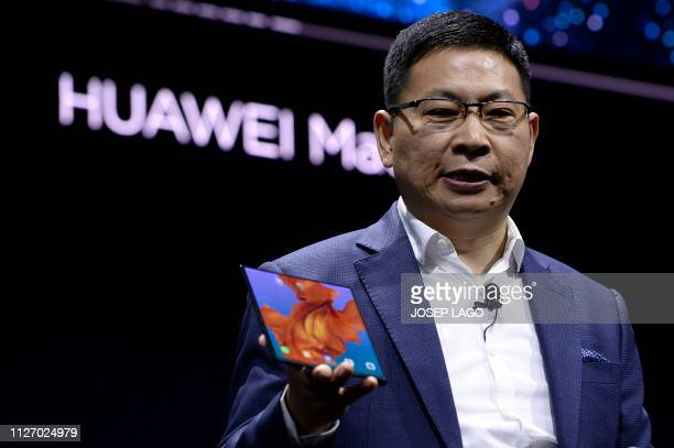 Richard Yu the CEO of Huawei's consumer products division presents the new HUAWEI Mate X foldable smartphone at the Mobile World Congress on the eve...