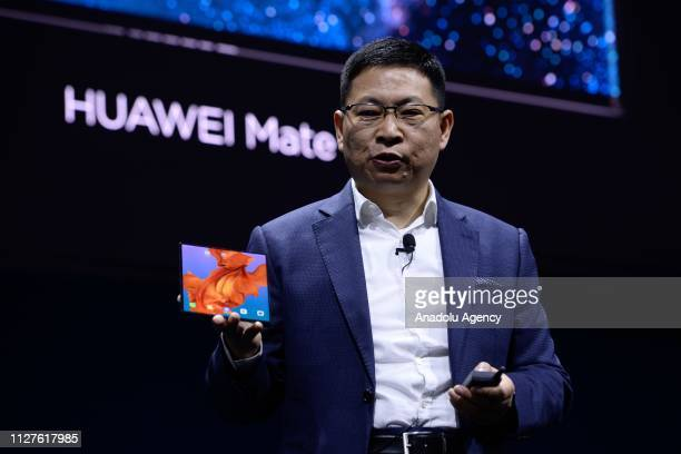 Richard Yu the CEO of Huawei's consumer products shows the new Mate X smartphone during the second day at the mobile World Congress 2019 in Barcelona...