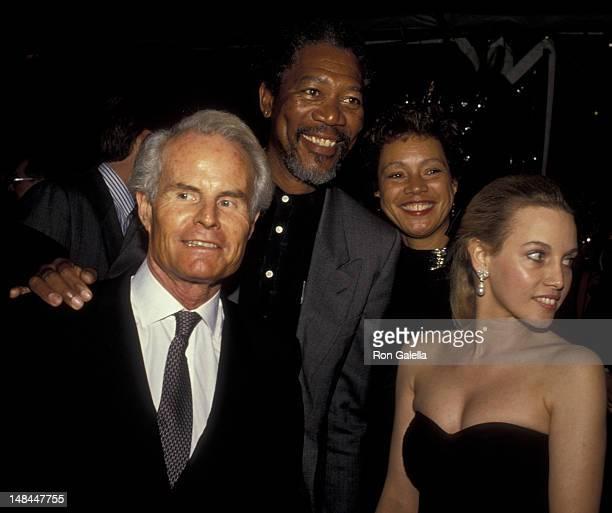 Richard Zanuck, Morgan Freeman, wife Myrna Colley-Lee and Lili Fini Zanuck attend Vanity Fair Magazine Benefit for Phoenix House on March 22, 1990 in...
