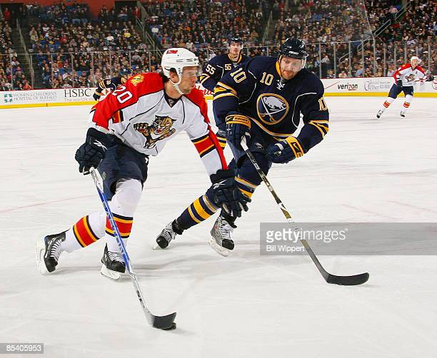 Richard Zednik of the Florida Panthers controls the puck in front of Henrik Tallinder of the Buffalo Sabres on March 12, 2009 at HSBC Arena in...