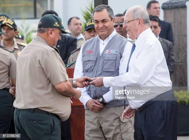 Richard Zubiate Talledo National Police Director hands over the symbolic keys to Pedro Pablo Kuczynski President of Peru with Vicente Romero...