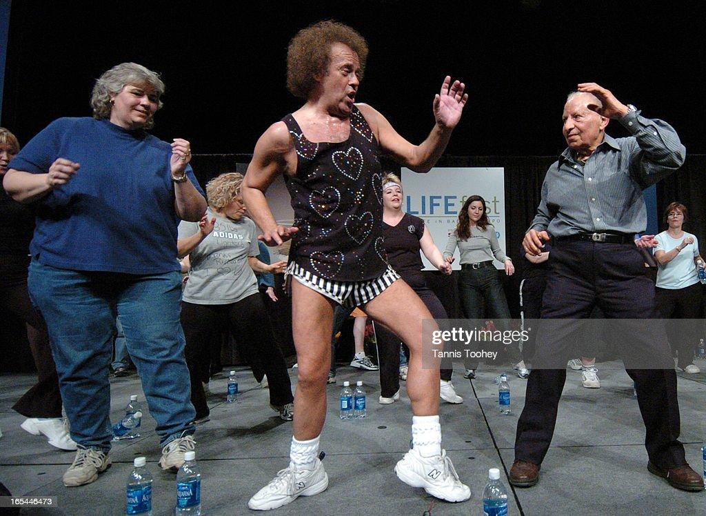 RICHARD_SIMMONS-March 14, 2004-Albert Anton, 81 (next week) joins fitness guru Richard Simmons as th : News Photo