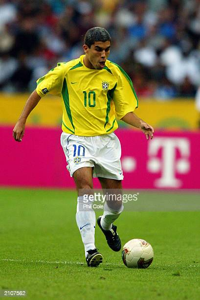 Richardinho of Brazil with the ball at his feet during the FIFA Confederations Cup match between Brazil and Cameroon on June 19 2003 at Stade De...