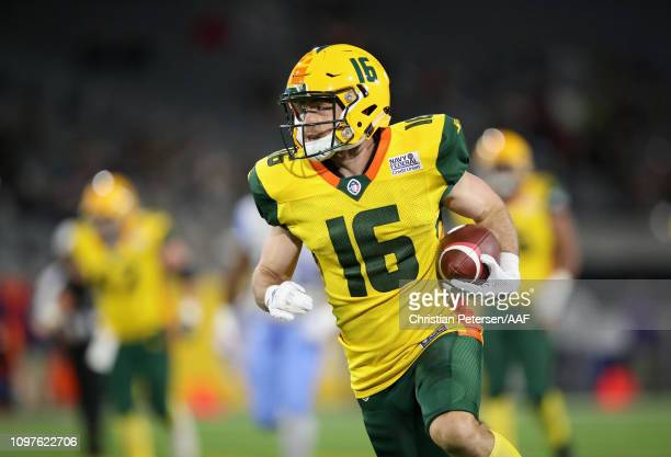 Richard Mullaney of the Arizona Hotshots carries the ball during the third quarter of the Alliance of American Football game against the Salt Lake...