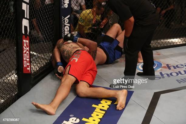 Richardson Adrigo Moreira submits Alexandre Machado during their elimination fight for season three of The Ultimate Fighter Brazil on January 12,...