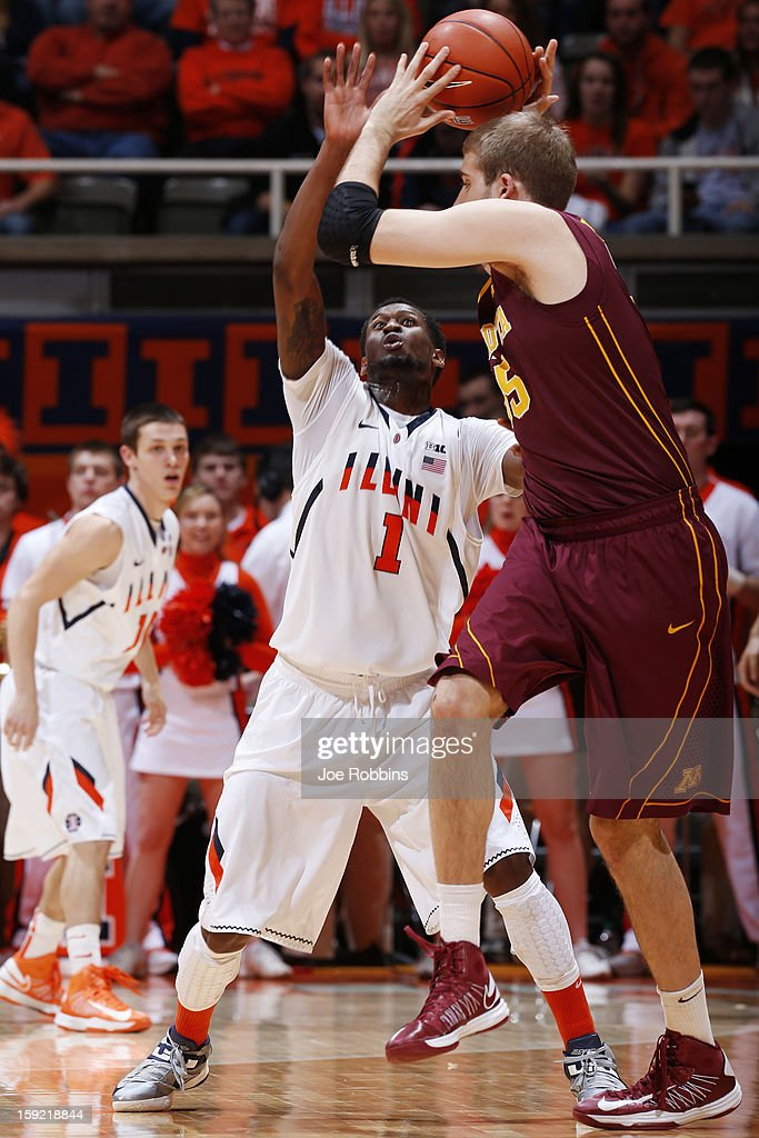 D.J. Richardson #1 of the Illinois Fighting Illini defends against Elliott Eliason #55 of the Minnesota Golden Gophers during the game at Assembly Hall on January 9, 2013 in Champaign, Illinois. Minnesota won 84-67.