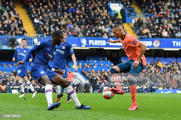 Richarlison and Antonio Rudiger during the Premier League match between Chelsea and Everton at Stamford Bridge London on Sunday 8th March 2020
