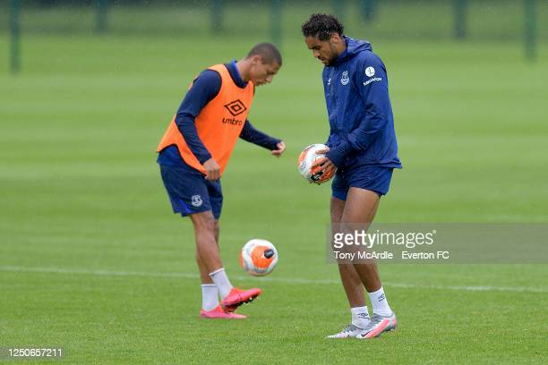 Richarlison and Dominic Calvert-Lewin during the Everton Training Session at Finch Farm on June 18 2020 in Halewood, England.