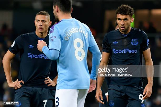Richarlison and Dominic Calvert-Lewin during the Premier League match between Manchester City and Everton at the Etihad Stadium on January 1, 2019 in...