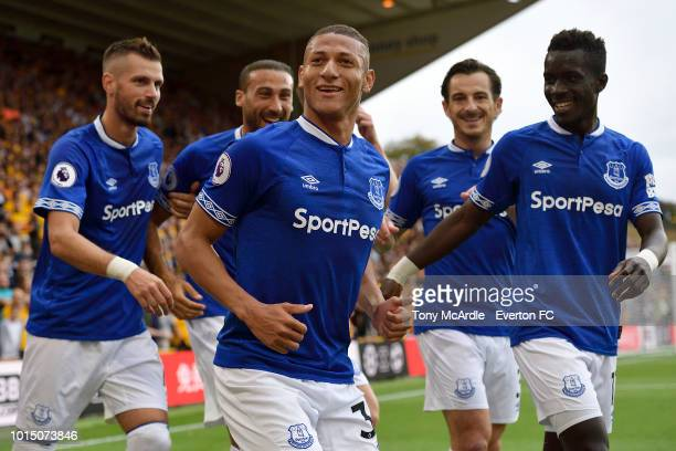 Richarlison celebrates his goal during the Premier League match between Wolverhampton Wanderers and Everton FC at Molineux on August 11 2018 in...