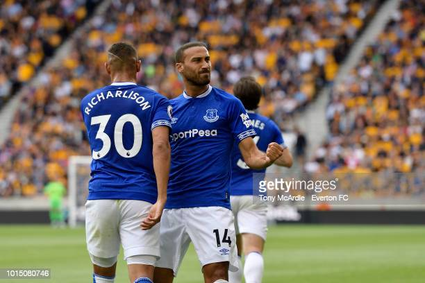 Richarlison celebrates his goal with Cenk Tosun during the Premier League match between Wolverhampton Wanderers and Everton FC at Molineux on August...