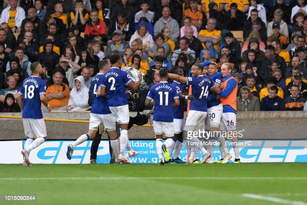 Richarlison celebrates his second goal with team mates during the Premier League match between Wolverhampton Wanderers and Everton FC at Molineux on...
