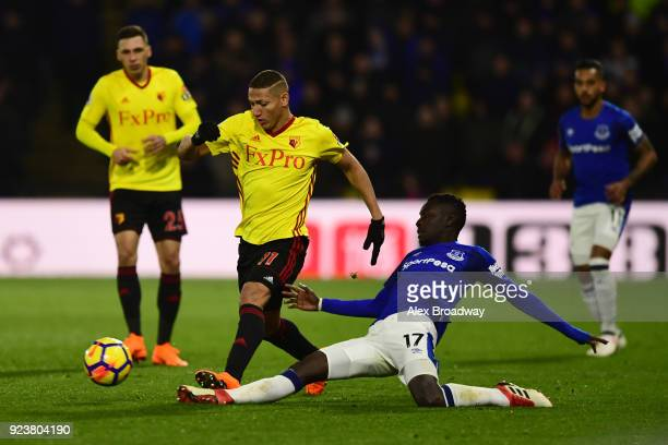 Richarlison de Andrade of Watford and Idrissa Gueye of Everton during the Premier League match between Watford and Everton at Vicarage Road on...
