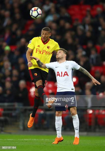 Richarlison de Andrade of Watford and Kieran Trippier of Tottenham Hotspur in action during the Premier League match between Tottenham Hotspur and...