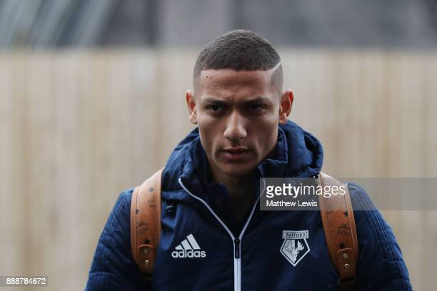 Richarlison de Andrade of Watford arrives at the stadium prior to the Premier League match between Burnley and Watford at Turf Moor on December 9...
