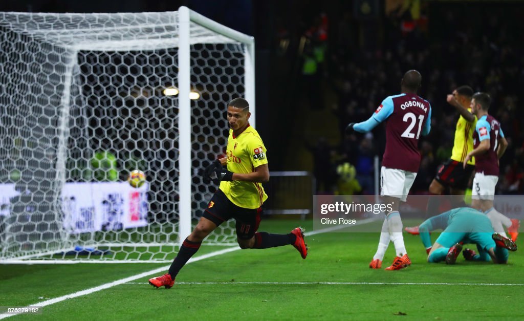 Richarlison de Andrade of Watford celebrates as he scores their second goal during the Premier League match between Watford and West Ham United at Vicarage Road on November 19, 2017 in Watford, England.