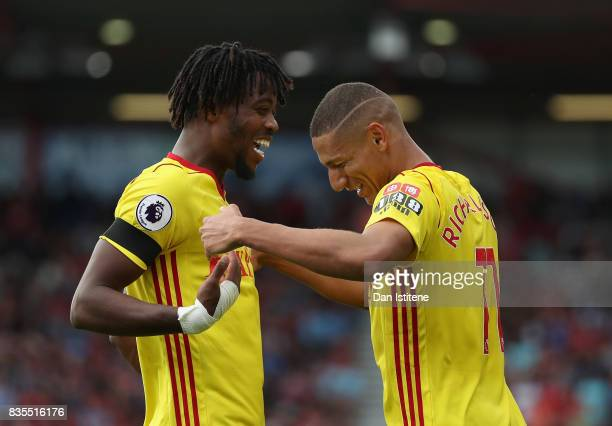 Richarlison de Andrade of Watford celebrates scoring his sides first goal with Nathaniel Chalobah of Watford during the Premier League match between...