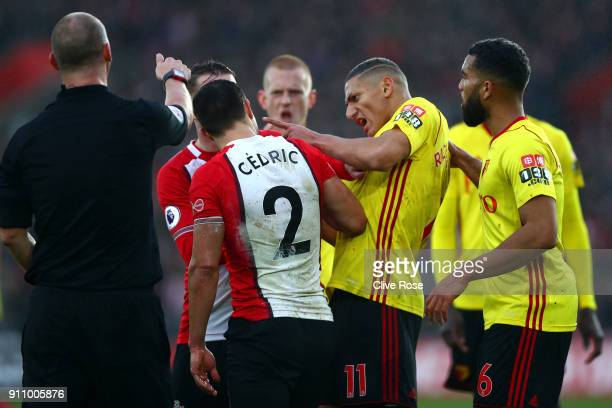 Richarlison de Andrade of Watford confronts Cedric Soares of Southampton during The Emirates FA Cup Fourth Round match between Southampton and...