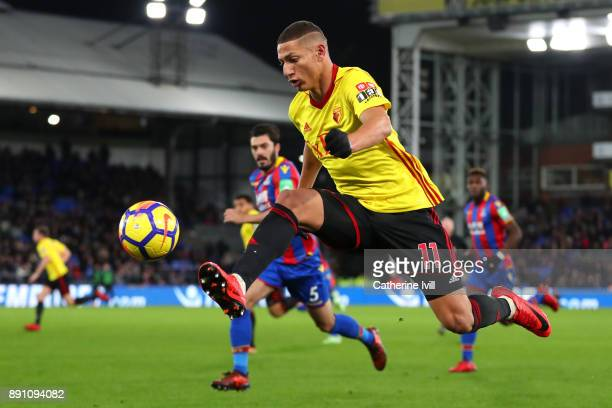 Richarlison de Andrade of Watford controls the ball in the air during the Premier League match between Crystal Palace and Watford at Selhurst Park on...