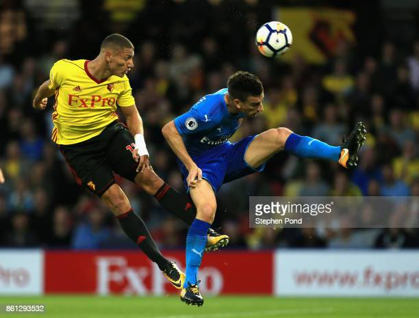 Richarlison de Andrade of Watford heads the ball during the Premier League match between Watford and Arsenal at Vicarage Road on October 14 2017 in...