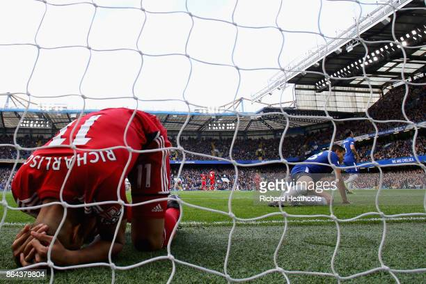 Richarlison de Andrade of Watford looks dejected after missing a chance during the Premier League match between Chelsea and Watford at Stamford...