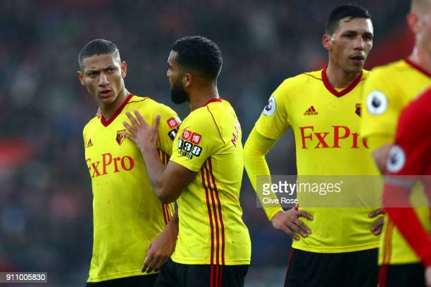 Richarlison de Andrade of Watford reacts after a confrontation with Cedric Soares of Southampton during The Emirates FA Cup Fourth Round match...