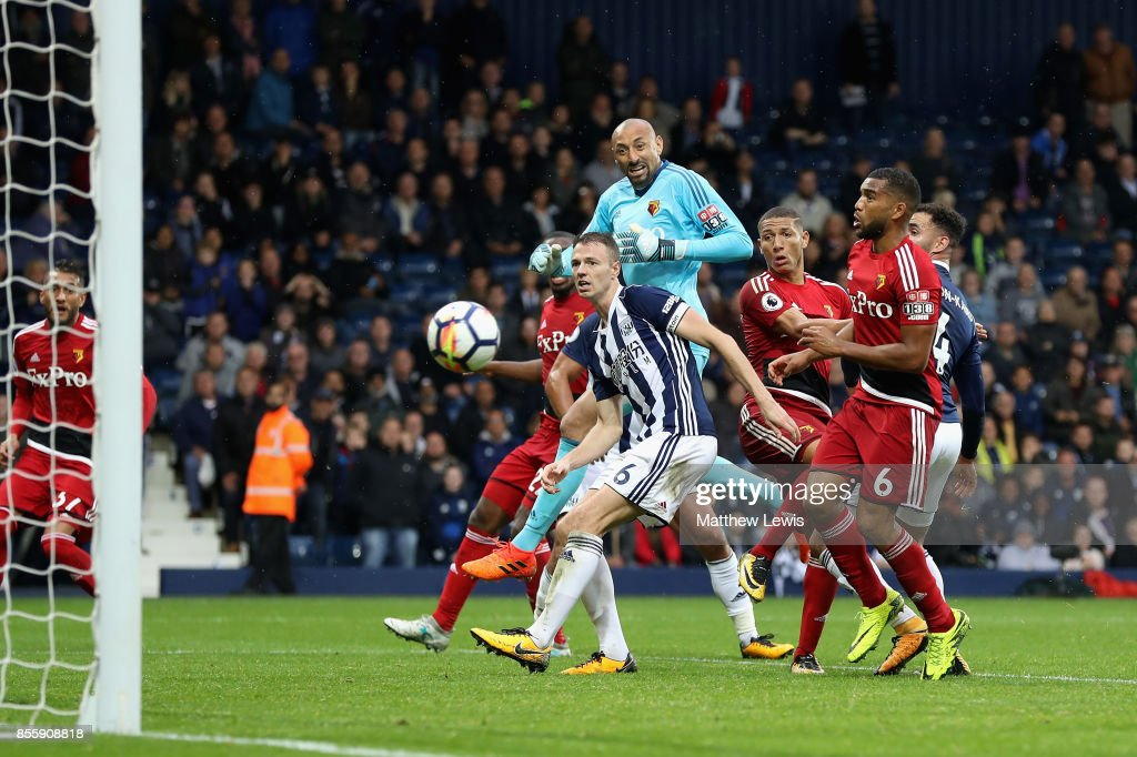 Richarlison de Andrade (3rd R) of Watford scores his side's second goal during the Premier League match between West Bromwich Albion and Watford at The Hawthorns on September 30, 2017 in West Bromwich, England.