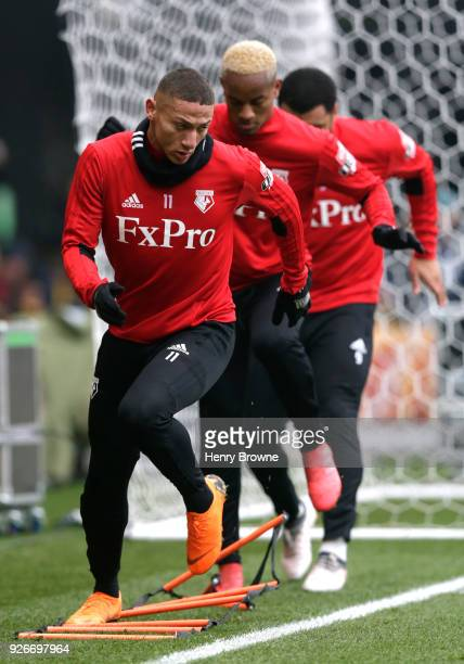 Richarlison de Andrade of Watford warms up prior to the Premier League match between Watford and West Bromwich Albion at Vicarage Road on March 3...