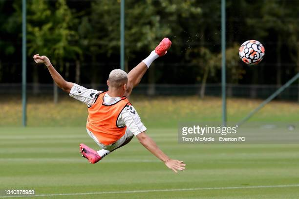 Richarlison during the Everton Training Session at USM Finch Farm on September 16 2021 in Halewood, England.